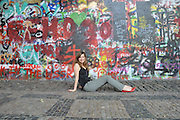 Colorful graffiti at the famous John Lennon wall in Prague, Czech Republic. Model Release Available
