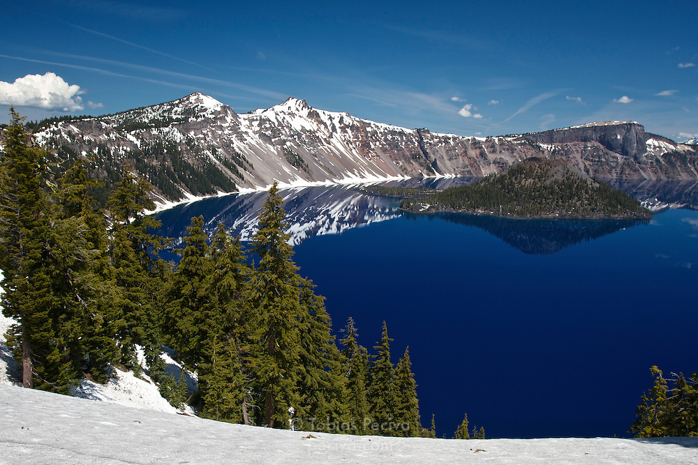 View from the rim of Crater Lake, in Crater Lake National Park, Oregon.