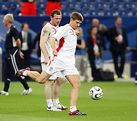 Photo: Chris Ratcliffe.<br />England Training Session. FIFA World Cup 2006. 30/06/2006.<br />Steven Gerrard shoots in training.