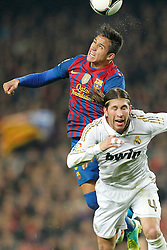 25.01.2012, Stadion Camp Nou, Barcelona, ESP, Copa del Rey, FC Barcelona vs Real Madrid, im Bild Barcelona's Alexis Sanchez and Real Madrid's Sergio Ramos // during the football match of spanish Copy del Rey, between FC Barcelona and Real Madrid at Camp Nou stadium, Barcelona, Spain on 2012/01/25. EXPA Pictures © 2012, PhotoCredit: EXPA/ Alterphotos/ Cesar Cebolla..***** ATTENTION - OUT OF ESP and SUI *****