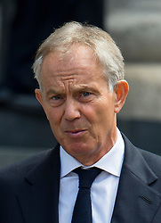 © Licensed to London News Pictures. 07/07/2015. London, UK. TONY BLAIR leaving the service. . A church service held at St Paul's Cathedral In London on the 10th anniversary of the 7/7 bombings in London which killed 52 civilians and injured over 700 more.  Photo credit: Ben Cawthra/LNP