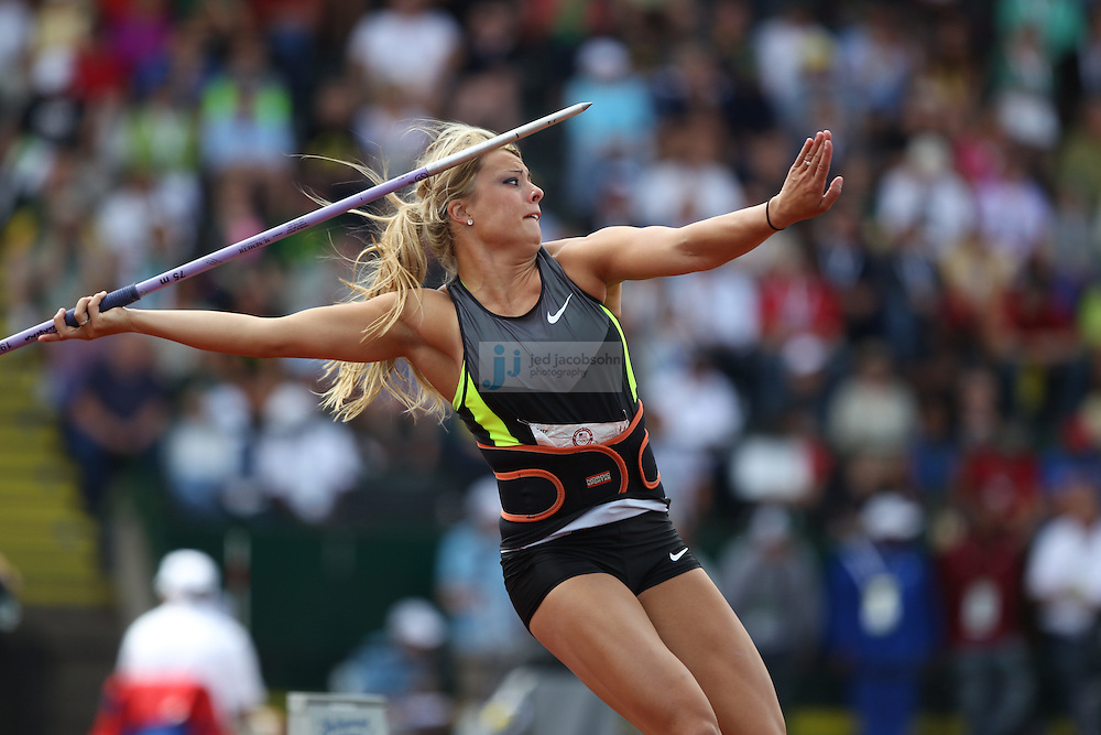 Brittany Borman throws during the finals of the javelin during day 10 of the U.S. Olympic Trials for Track & Field at Hayward Field in Eugene, Oregon, USA 1 Jul 2012..(Jed Jacobsohn/for The New York Times)....