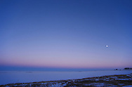 Earth's shadow (blue rim on horizon) and pinkish Belt of Venus very prominent above shadow band, from home in Alberta, November 1996. Gibbous Moon in sky. Evening shot.<br /> <br /> 28mm lens<br /> <br /> There is a 16mm full-frame fisheye version as well, taken at the same time