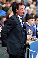 Blackburn Rovers' Manager Gary Bowyer looks on prior to the game. Skybet football league championship match, Blackburn Rovers v Wigan Athletic at Ewood Park in Blackburn, England on Saturday 3rd May 2014.pic by Chris Stading, Andrew Orchard sports photography.