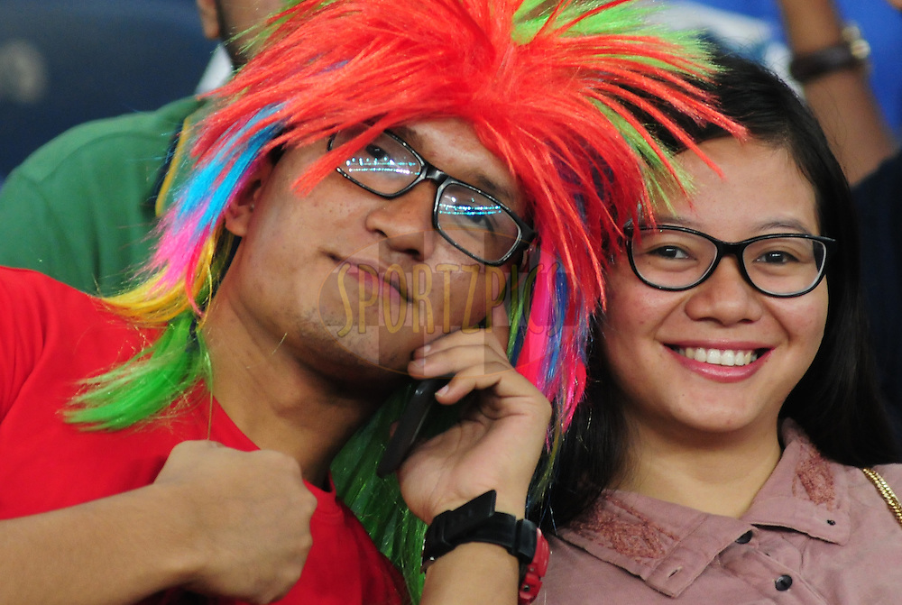 Fans during match 16 of the Hero Indian Super League between The Delhi Dynamos FC and NorthEast United FC held at the Jawaharlal Nehru Stadium, Delhi, India on the 29th October 2014.<br /> <br /> Photo by:  Arjun Panwar/ ISL/ SPORTZPICS