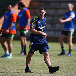 Mark Hammett (Assistant Coach) of the Pulse Energy Highlanders during the Pulse Energy Highlanders training session at Crawford College, La Lucia ,Durban.South Africa. 01,05,2018 Photo by Steve Haag)