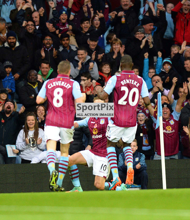 Number 10 for Aston Villa Andreas Weimann scores to make it 1-0 Villa