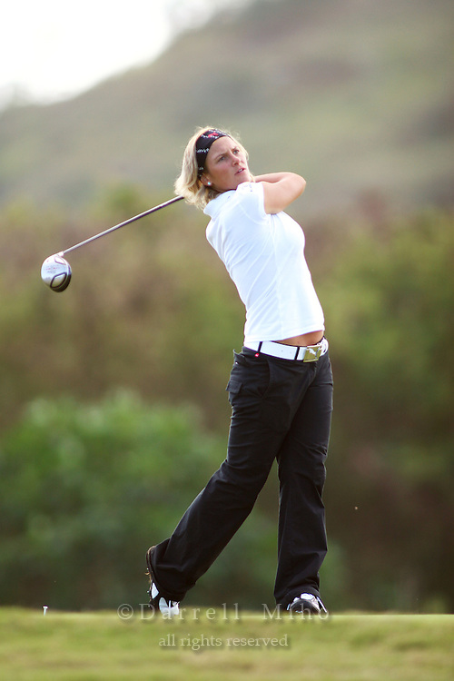 February 17, 2006; Kahuku, HI - Nicole Perrot tees off during the second round at the LPGA SBS Open at Turtle Bay Resort...Mandatory photo credit: Darrell Miho.© Darrell Miho