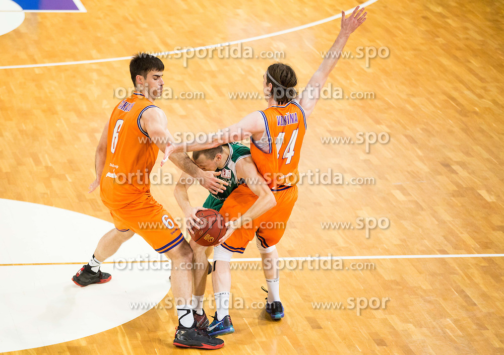 Miha Vasl of KK Zlatorog vs Marjan Cakarun of KK Helios Suns and Luka Voncina of KK Helios Sunsduring 2nd Leg basketball match between KK Helios Suns and KK Zlatorog Lasko in Final of Nova KBM Champions League  2015/16, on May 31, 2016 in Hala Komunalnega centra, Domzale, Slovenia Photo by Vid Ponikvar / Sportida