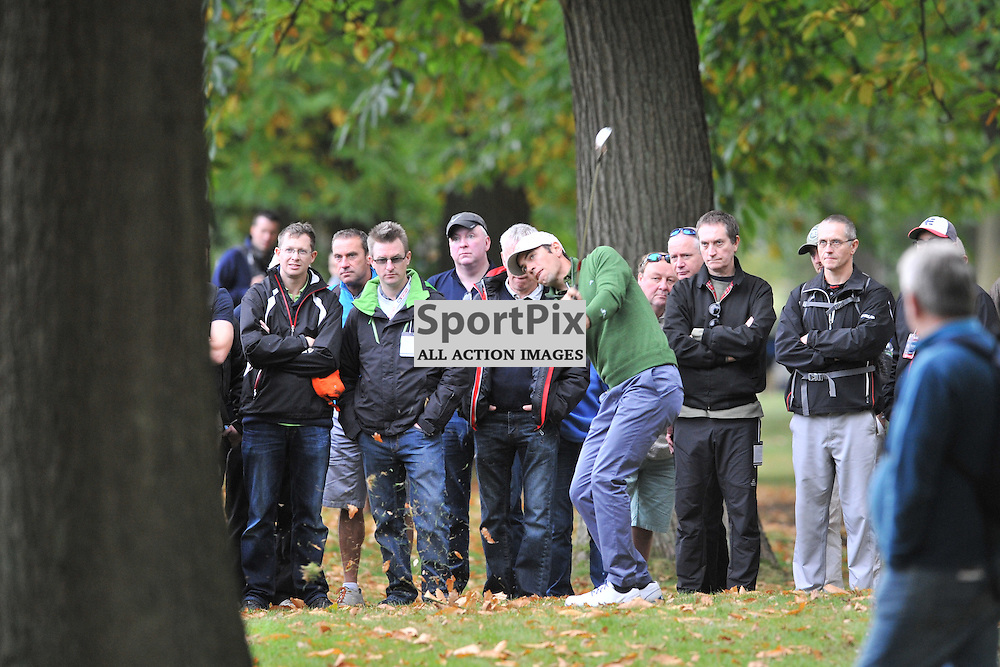 Nick Dougherty England,  ponders and hits his way out of the trees on the 18th, British Masters, European Tour, Woburn Golf Club, 8th October 2015Nick Dougherty England,  British Masters, European Tour, Woburn Golf Club, 8th October 2015British Masters, European Tour, Woburn Golf Club, 8th October 2015