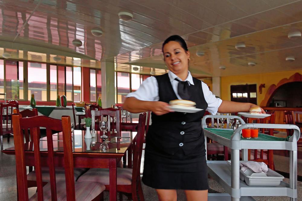 Waitress at the Hotel Hanabanilla, Villa Clara, Cuba.