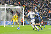Tottenham Hotspur forward Harry Kane (10) attacks in front of goal during the Champions League group stage match between Tottenham Hotspur and Inter Milan at Wembley Stadium, London, England on 28 November 2018.