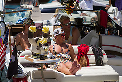 July 15, 2018 - Stateline, Nevada, U.S - A spector watches the action on the 17th hole from a boat floating on Lake Tahoe during the 29th annual American Century Championship at the Edgewood Tahoe Golf Course in Stateline, Nevada, on Sunday, July 15, 2018. (Credit Image: © Tracy Barbutes via ZUMA Wire)