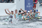 Henley Royal Regatta, 3-7 July 2019. Eton College, celebrate, as they cross the Finish Line, to win, the Princess Elizabeth Challenge Cup, Royal Henley Peace Regatta Centenary, 1919-2019. Henley on Thames.<br /> <br /> <br /> <br /> [Mandatory Credit: Patrick WHITE/Intersport Images], 7, 07/07/2019,  12:35:31