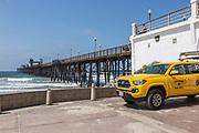 Yellow Lifeguard Truck at Oceanside Pier