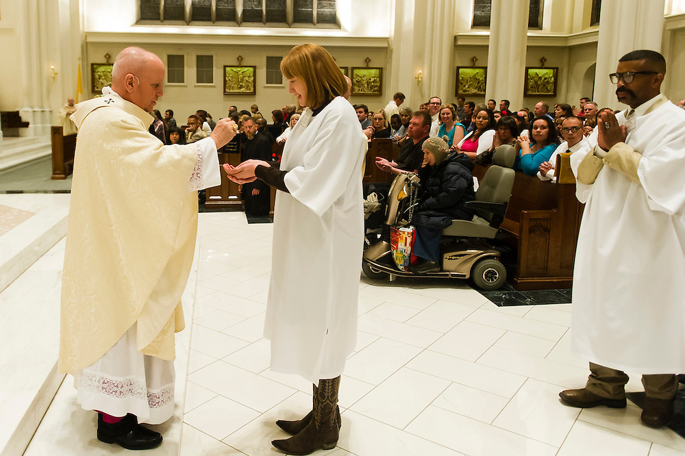 DENVER, CO - APRIL 19: Easter Vigil Mass at the Cathedral Basilica of the Immaculate Conception on April 19, 2014, in Denver, Colorado. (Photo by Daniel Petty/Denver Catholic Register)
