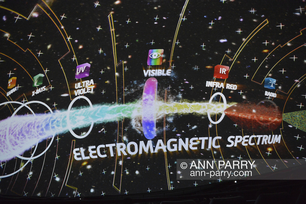"Oct 4, 2012 - GARDEN CITY, NEW YORK U.S. - At the new JetBlue Sky Theater Planetarium at Cradle of Aviation Museum, Nassau County students watched ""We Are Astronomers"" a digital planetarium show, which included the different types of radiation in the electromagnetic spectrum. The planetarium, a state-of-the-art digital projection system, officially opens this weekend."