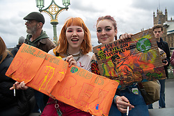 © Licensed to London News Pictures. 15/03/2019. London, UK. School children across the UK took part in an international day of action protesting inaction over climate change. An 'after party' was held on Westminster Bridge, blocking traffic for several hours.  Photo credit: Guilhem Baker/LNP