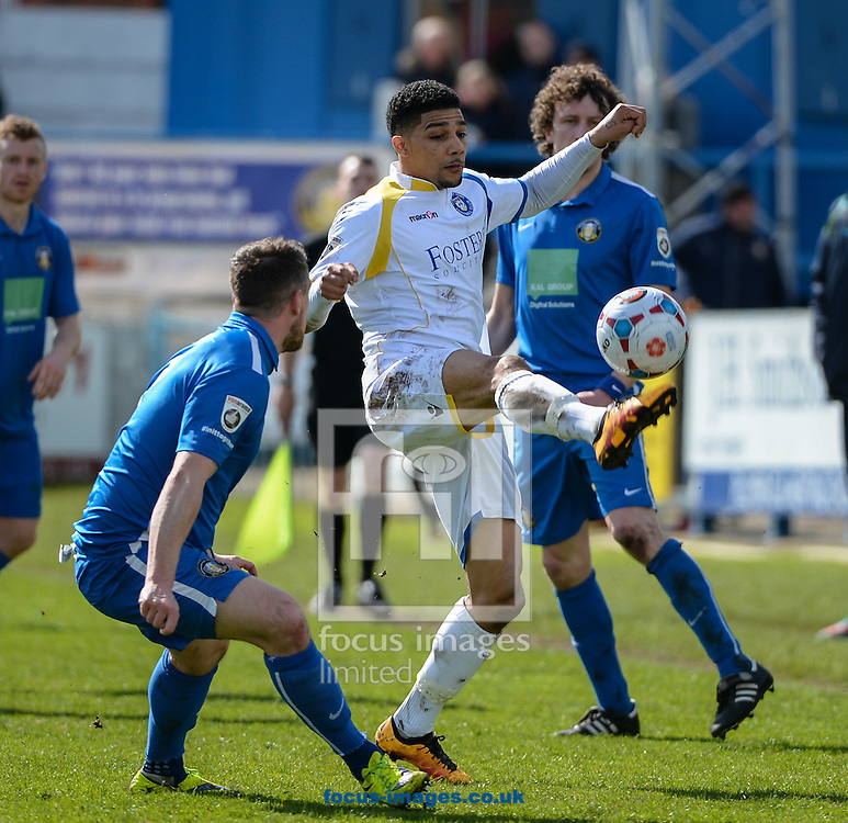 Dean Mason of Lowestoft Town in action during the National League North match at the Northolme, Gainsborough<br /> Picture by Richard Land/Focus Images Ltd +44 7713 507003<br /> 16/04/2016