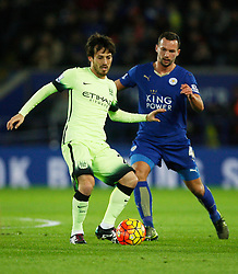 David Silva of Manchester City and Daniel Drinkwater of Leicester City (R)   - Mandatory byline: Jack Phillips/JMP - 07966386802 - 29/12/2015 - SPORT - FOOTBALL - Leicester - King Power Stadium - Leicester City v Manchester City - Barclays Premier League