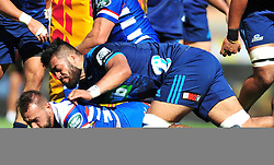 Cape Town-180317 Dewaldt Duwenage of the DHL Stomers scores a try against Blues in the Super Rugby tournament  at Newlands rugby stadium.Photograph:Phando Jikelo/African News Agency/ANA