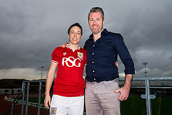 Corinne Yorston of bristol City Women's FC poses with manager Willie Kirk - Mandatory byline: Rogan Thomson/JMP - 11/01/2016 - FOOTBALL - Stoke Gifford Stadium - Bristol, England - Bristol City Women's FC New Signings.