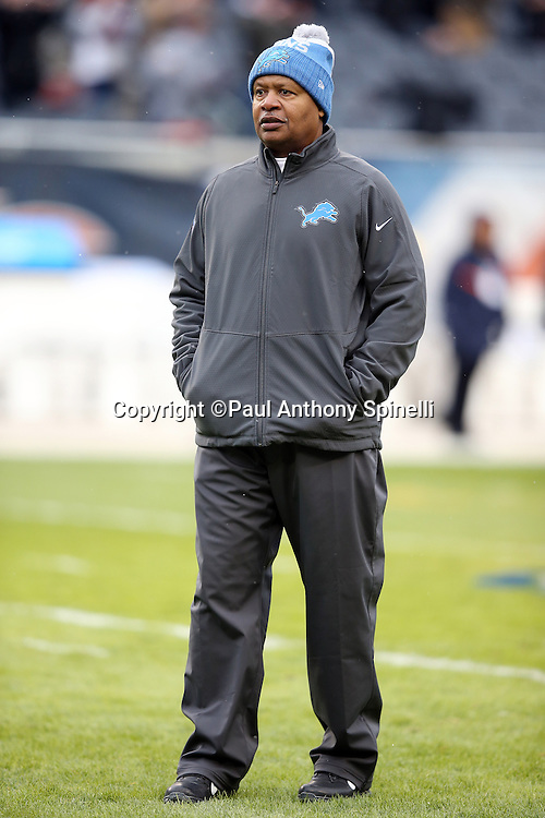Detroit Lions head coach Jim Caldwell looks on during pregame warmups before the NFL week 17 regular season football game against the Chicago Bears on Sunday, Jan. 3, 2016 in Chicago. The Lions won the game 24-20. (©Paul Anthony Spinelli)