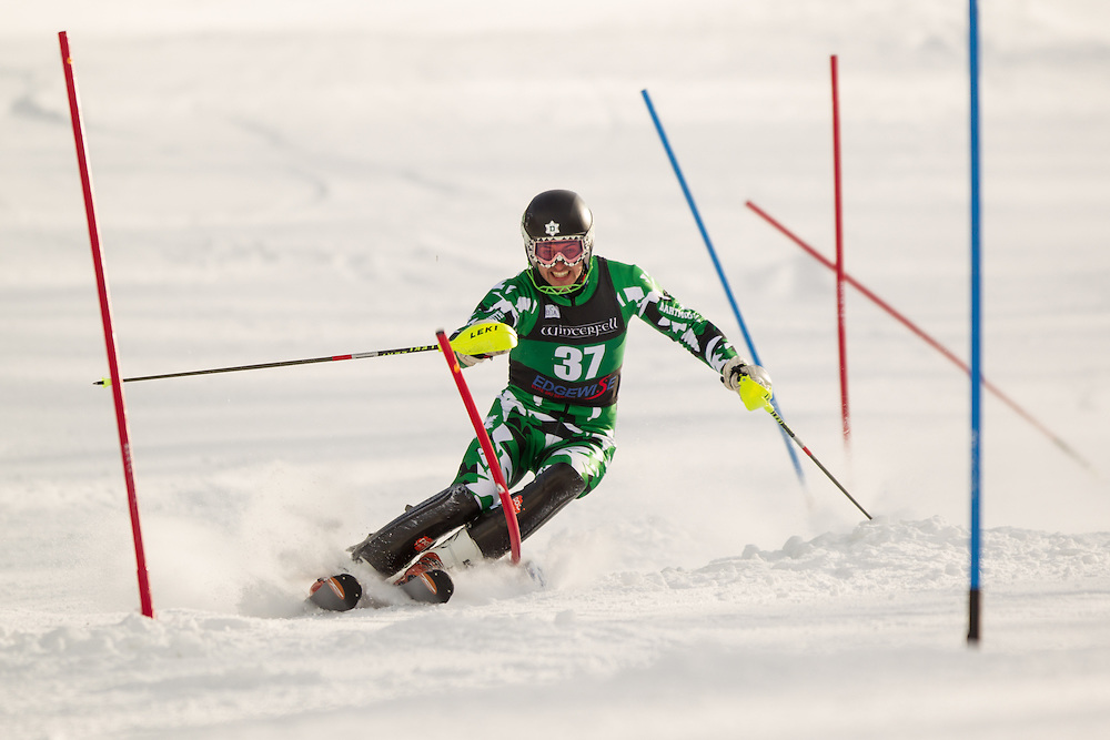 Dylan Fisher McCarney of Dartmouth College, skis during the second  run of the men's slalom at the University of Vermont Carnival at Burke Mountain on January 26, 2014 in East Burke, VT. (Dustin Satloff/EISA)