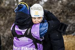 February 13, 2018 - Stockholm, Sweden - OS 2018 i Pyeongchang. Sprint, damer. Ida Ingmarsdotter, längdskidÃ¥kare Sverige, tröstas av Katarina Medveczky, journalist presschef, tävling action landslaget ledsen (Credit Image: © Orre Pontus/Aftonbladet/IBL via ZUMA Wire)