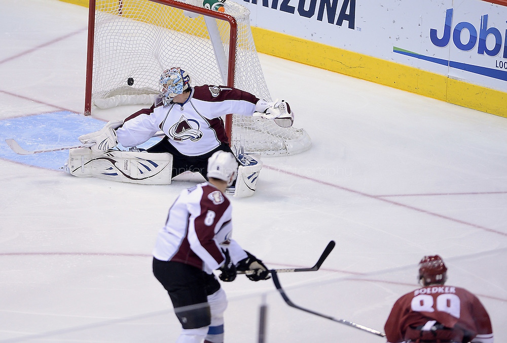 Apr. 6, 2013; Glendale, AZ, USA;  Phoenix Coyotes right wing Mikkel Boedker (89) scores on the Colorado Avalanche goalie Semyon Varlamov (1) in the first period as defenseman Jan Hejda (8) watches on at Jobing.com Arena. Mandatory Credit: Jennifer Stewart-USA TODAY Sports