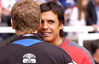 Photo: Daniel Hambury.<br /> Fulham v Everton. The Barclays Premiership.<br /> 27/08/2005.<br /> Fulham's Chris Coleman and Everton's David Moyes share a moment before kick off.
