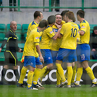 Hibs v St Johnstone...21.01.12<br /> Lee Croft celebrates with his team mates after scoring for saints on his debut<br /> Picture by Graeme Hart.<br /> Copyright Perthshire Picture Agency<br /> Tel: 01738 623350  Mobile: 07990 594431