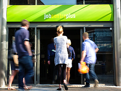 © Licensed to London News Pictures. 14/09/2016. Portsmouth, UK.  People visiting the Job Centre Plus in Portsmouth this morning. The latest unemployment figures show that the rate remains unchanged at 4.9% following Brexit. The number of people unemployed fell by 190,000 from the previous year, while the number of people in employment rose 174,000, taking the total to 31.77 million. Photo credit: Rob Arnold/LNP