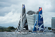 Emirates Team New Zealand practice racing on practice day for the Cardiff Extreme Sailing Series Regatta. 21/8/2014