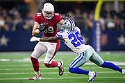 ARLINGTON, TX - AUGUST 26:  Andrew Vollert #89 of the Arizona Cardinals runs the ball and is tackled by Duke Thomas #26 of the Dallas Cowboys at AT&T Stadium during week 3 of the preseason on August 26, 2018 in Arlington, Texas.  The Cardinals defeated the Cowboys 27-3.  (Photo by Wesley Hitt/Getty Images) *** Local Caption *** Andrew Vollert; Duke Thomas
