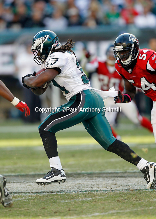 Philadelphia Eagles running back Eldra Buckley (34) runs the ball during the NFL week 6 football game against the Atlanta Falcons on Sunday, October 17, 2010 in Philadelphia, Pennsylvania. The Eagles won the game 31-17. (©Paul Anthony Spinelli)