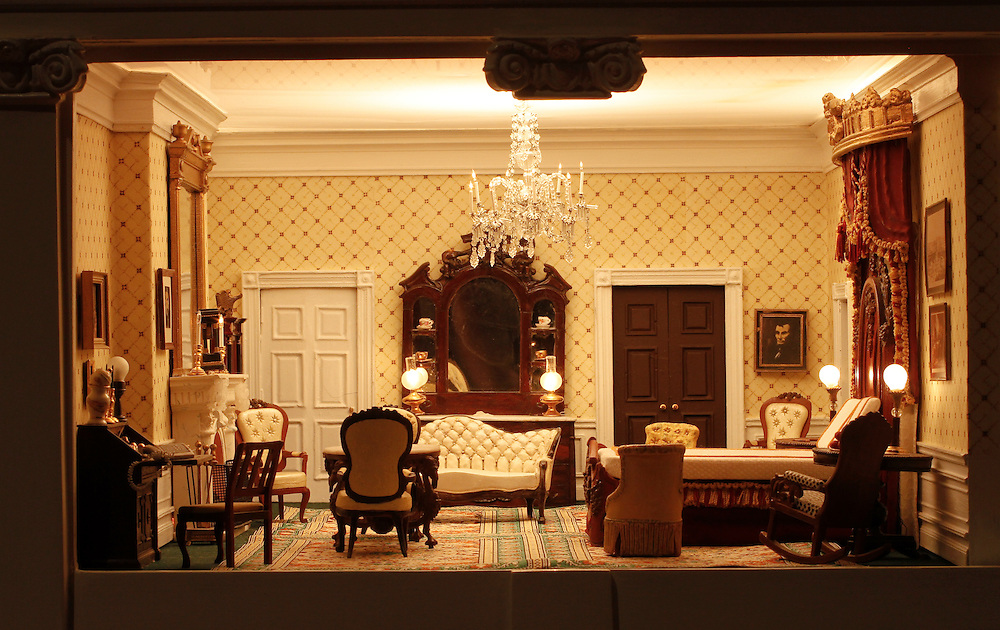 A scale model of the real White House is on display at the Reagan Library in Simi Valley, California. This is The Lincoln Bedroom.