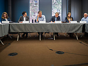 06 MAY 2019 - DES MOINES, IOWA: BETO O'ROURKE, a Texas Democrat, center, leads a roundtable discussion about climate change in Des Moines Monday. O'Rouke is campaigning in Iowa to support his candidacy to be the Democratic nominee for the US Presidency in 2020.  Iowa traditionally hosts the the first election event of the presidential election cycle. The Iowa Caucuses will be on Feb. 3, 2020.              PHOTO BY JACK KURTZ