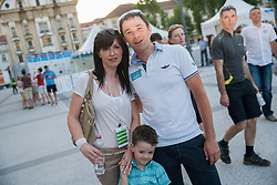 Borut Bozic of Slovenia with his family during Stage 1of  cycling race 20th Tour de Slovenie 2013 - Time Trial 8,8 km in Ljubljana,  on June 12, 2013 in Slovenia. (Photo By Vid Ponikvar / Sportida)