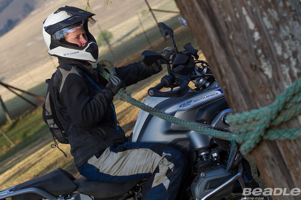 Morag Campbell from the Republic of South Africa participating in the inaugural GS Trophy Female qualifying event at the 2015 BMW Motorrad GS Trophy Female Team Qualifying Event held at Countrytrax Amersfoort, South Africa. Image by Greg Beadle