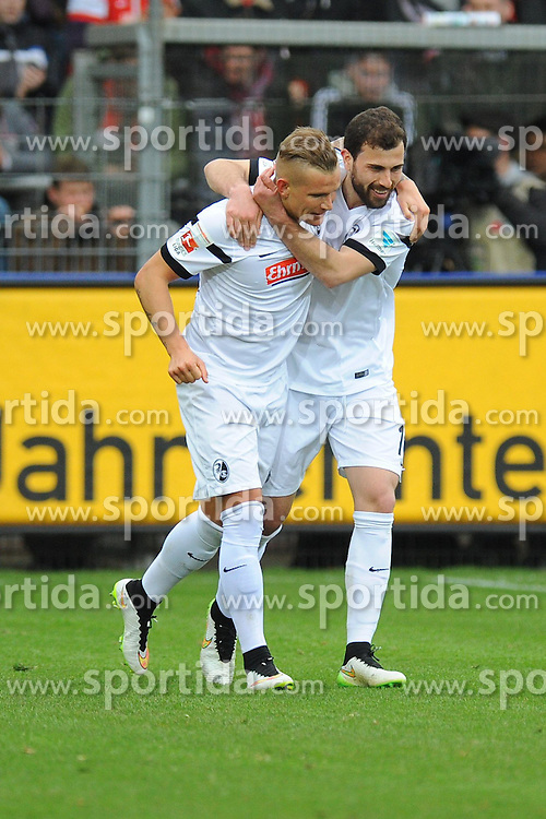 21.03.2015, Schwarzwald Stadion, Freiburg, GER, 1. FBL, SC Freiburg vs FC Augsburg, 26. Runde, im Bild Jubel bei (l.) Jonathan Schmid (SC Freiburg) (r.) Admir Mehmedi (SC Freiburg) // during the German Bundesliga 26th round match between SC Freiburg and FC Augsburg at the Schwarzwald Stadion in Freiburg, Germany on 2015/03/21. EXPA Pictures &copy; 2015, PhotoCredit: EXPA/ Eibner-Pressefoto/ Laegler<br /> <br /> *****ATTENTION - OUT of GER*****