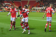 Rotherham United player Chiedozie Ogbene (19) celebrates scoring goal to go 3-0  during the EFL Sky Bet League 1 match between Rotherham United and Bristol Rovers at the AESSEAL New York Stadium, Rotherham, England on 18 January 2020.