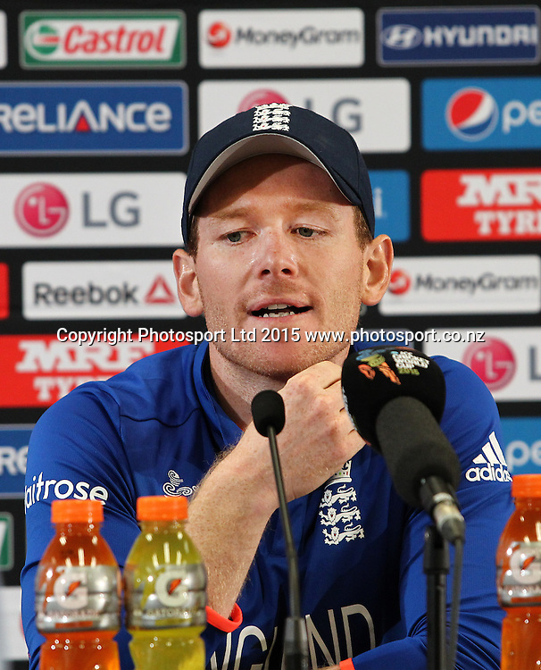 Eoin Morgan. Post match press conference during the ICC Cricket World Cup match between New Zealand and England at Wellington Regional Stadium, New Zealand. Friday 20th February 2015. Photo.: Grant Down / www.photosport.co.nz