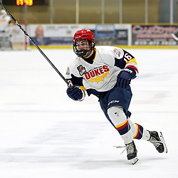WELLINGTON, ON - FEBRUARY 9: Jacob Vreugdenhill #16 of the Wellington Dukes skates up ice in the third period on February 9, 2019 at Wellington and District Community Centre in Wellington, Ontario, Canada.<br /> (Photo by Ed McPherson / OJHL Images)