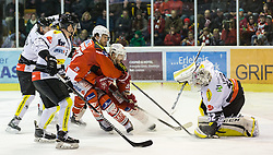 03.03.2015, Stadthalle, Klagenfurt, AUT, EBEL, EC KAC vs Dornbirner Eishockey Club, Qualifikationsrunde, im Bild Olivier Magnan (Dornbirner Eishockey Club, #2), Jonathan D'Aversa (Dornbirner Eishockey Club, #), Thomas Hundertpfund (EC KAC, #27), Jean-Francoir Jacques (EC KAC, #39), Nathan Lawson (Dornbirner Eishockey Club, #52) // during the Erste Bank Icehockey League qualification round match betweeen EC KAC and Dornbirner Eishockey Club at the City Hall in Klagenfurt, Austria on 2015/03/03. EXPA Pictures © 2015, PhotoCredit: EXPA/ Gert Steinthaler