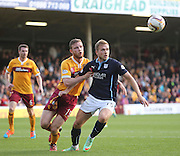 Dundee's Greg Stewart and Motherwell's Mark O'Brien - Motherwell v Dundee, SPFL Premiership at Fir Park<br /> <br />  - &copy; David Young - www.davidyoungphoto.co.uk - email: davidyoungphoto@gmail.com