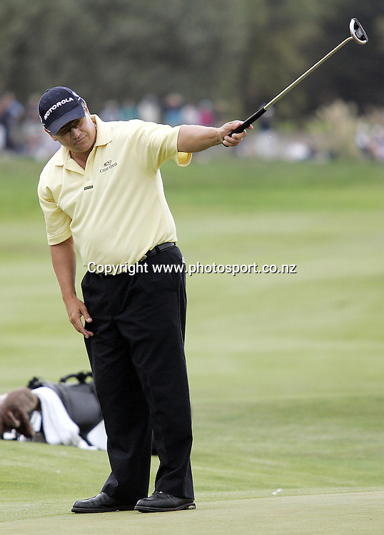 27/2/2005. Aussie Peter O'Malley follows his putt on the 18th hole to win the NZPGA Golf Championship in a play off with fellow aussie Steven Bowditch at Clearwater in Christchurch on Sunday. Photosport