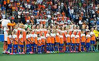 AMSTELVEEN - Line up Nederland , voor  de damesfinale Nederland-Belgie (3-0) bij de Rabo EuroHockey Championships 2017. COPYRIGHT KOEN SUYK