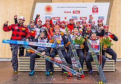 02.03.2019, Seefeld, AUT, FIS Weltmeisterschaften Ski Nordisch, Seefeld 2019, Nordische Kombination, Team Bewerb, Flower Zeremonie, im Bild das Team der Nordischen Kombinierer mit den Bronzemedaillengewinner Bernhard Gruber (AUT), Mario Seidl (AUT), Franz-Josef Rehrl (AUT), Lukas Klapfer (AUT) // the team of Nordic Combined with the Bronce medalist Bernhard Gruber Mario Seidl Franz-Josef Rehrl Lukas Klapfer of Austria during the flowers ceremony for the Team competition of Nordic Combined for the FIS Nordic Ski World Championships 2019. Seefeld, Austria on 2019/03/02. EXPA Pictures © 2019, PhotoCredit: EXPA/ Stefan Adelsberger