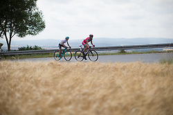 Martina Ritter (AUT) of Drops Cycling Team and Margarita Victoria Garcia (ESP) of Bizkaia-Durango Cycling Team chases the peloton up on the main climb of the second lap on Stage 6 of the Lotto Thuringen Ladies Tour - a 80.5 km road race, starting and finishing in Gotha on July 18, 2017, in Thuringen, Germany. (Photo by Balint Hamvas/Velofocus.com)